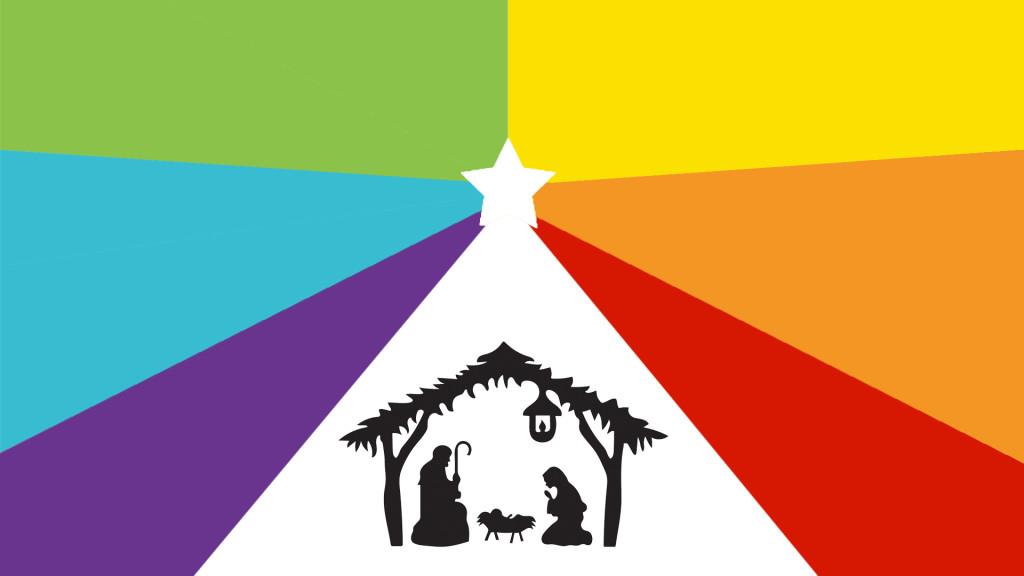 Rainbow Nativity with Manger